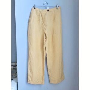 Emma James yellow linen blend high waist trouser